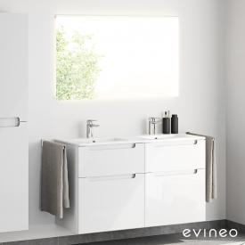 Evineo ineo5 double washbasin and vanity unit with recessed handle and LED mirror front white high gloss/mirrored / corpus white high gloss, white