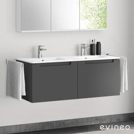 Evineo ineo5 double washbasin and vanity unit with 2 pull-out compartments, with recessed handles front matt anthracite / corpus matt anthracite