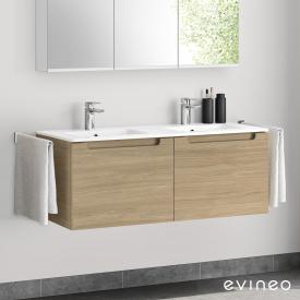 Evineo ineo5 double washbasin and vanity unit with 2 pull-out compartments, with recessed handles front oak / corpus oak