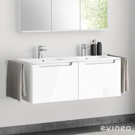 Evineo ineo5 double washbasin and vanity unit with 2 pull-out compartments, with recessed handles front white high gloss / corpus white high gloss
