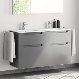 Evineo ineo5 double washbasin and vanity unit with 4 pull-out compartments and with recessed handle front matt anthracite / corpus matt anthracite, white