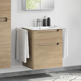 Evineo ineo5 Lavabo avec meuble sous-lavabo, avec 2 tiroirs, avec poignée encastrée Façade chêne/corps du meuble chêne