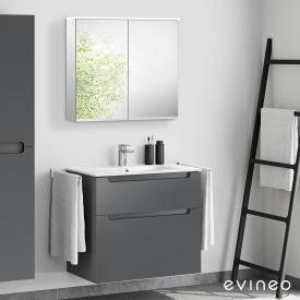 Evineo ineo5 Lavabo avec meuble sous-lavabo avec poignée encastrée, avec armoire de toilette LED Façade anthracite mat/réfléchissant/corps du meuble anthracite mat/réfléchissant