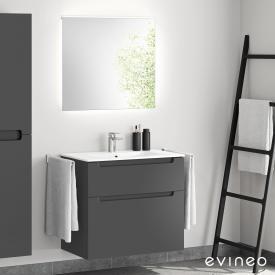 Evineo ineo5 Lavabo avec meuble sous-lavabo, poignée encastrée et miroir LED Façade anthracite mat/réfléchissant/corps du meuble anthracite mat