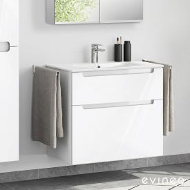 Evineo ineo5 Lavabo avec meuble sous-lavabo, avec 2 tiroirs, avec poignée encastrée Façade blanc ultra brillant/corps du meuble blanc ultra brillant