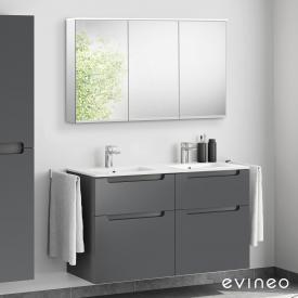 Evineo ineo5 Lavabo double avec meuble sous-lavabo avec poignée encastrée, avec armoire de toilette LED Façade anthracite mat/réfléchissant/corps du meuble anthracite mat/réfléchissant
