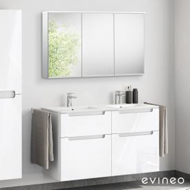 Evineo ineo5 Lavabo double avec meuble sous-lavabo avec poignée encastrée, avec armoire de toilette LED Façade blanc ultra brillant/réfléchissant/corps du meuble blanc ultra brillant/réfléchissant