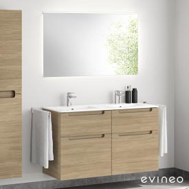 Evineo ineo5 Lavabo double avec meuble sous-lavabo, poignée encastrée et miroir LED Façade chêne/réfléchissant/corps du meuble chêne