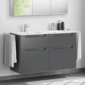 Evineo ineo5 Lavabo double avec meuble sous-lavabo, avec 4 tiroirs, avec poignée encastrée Façade anthracite mat/corps du meuble anthracite mat