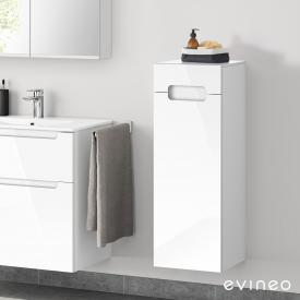 Evineo ineo5 side unit with 1 drawer, 1 door, with recessed handle front white high gloss / corpus white high gloss