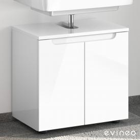 Evineo ineo5 vanity unit without washbasin connection with 2 doors, with recessed handles front white high gloss / corpus white high gloss