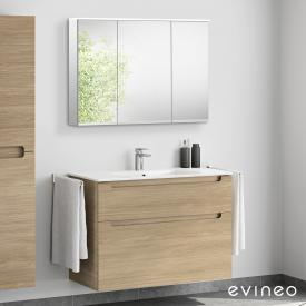 Evineo ineo5 washbasin and vanity unit with recessed handle, with LED mirror cabinet front oak/mirrored / corpus oak/mirrored
