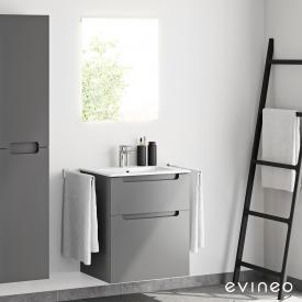 Evineo ineo5 washbasin and vanity unit with recessed handle and LED mirror front matt anthracite/mirrored / corpus matt anthracite, white