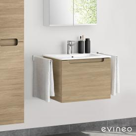 Evineo ineo5 washbasin and vanity unit with 1 pull-out compartment, with recessed handle front oak / corpus oak