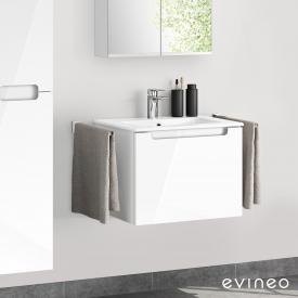 Evineo ineo5 washbasin and vanity unit with 1 pull-out compartment, with recessed handle front white high gloss / corpus white high gloss