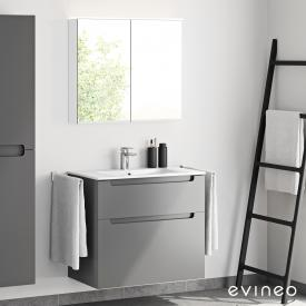 Evineo ineo5 washbasin and vanity unit with recessed handle and LED mirror cabinet front matt anthracite/mirrored / corpus matt anthracite/mirrored, white