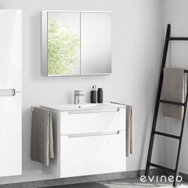 Evineo ineo5 washbasin and vanity unit with recessed handle, with LED mirror cabinet front white high gloss/mirrored / corpus white high gloss/mirrored