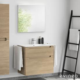 Evineo ineo5 washbasin and vanity unit with recessed handle, with LED mirror front oak/mirrored / corpus oak
