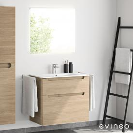 Evineo ineo5 washbasin and vanity unit with recessed handle and LED mirror front oak/mirrored / corpus oak, white