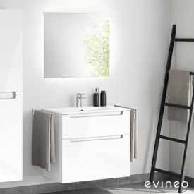 Evineo ineo5 washbasin and vanity unit with recessed handle, with LED mirror front white high gloss/mirrored / corpus white high gloss