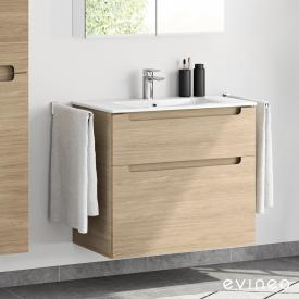 Evineo ineo5 washbasin and vanity unit with 2 pull-out compartments and with recessed handle front oak / corpus oak, white