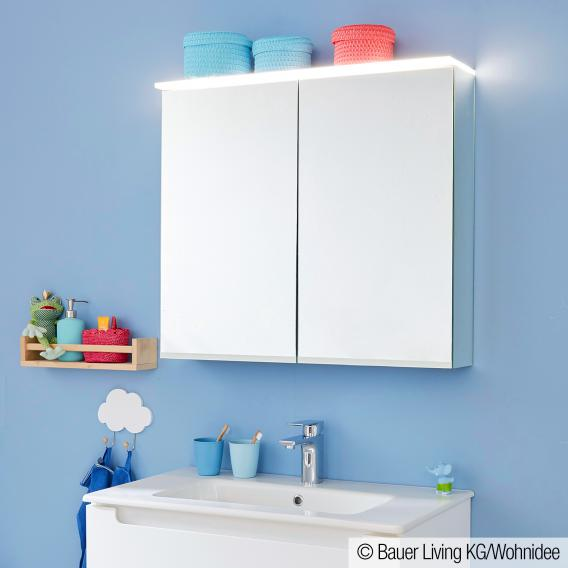 Evineo ineo mirror cabinet with integrated LED lighting, with 2 doors