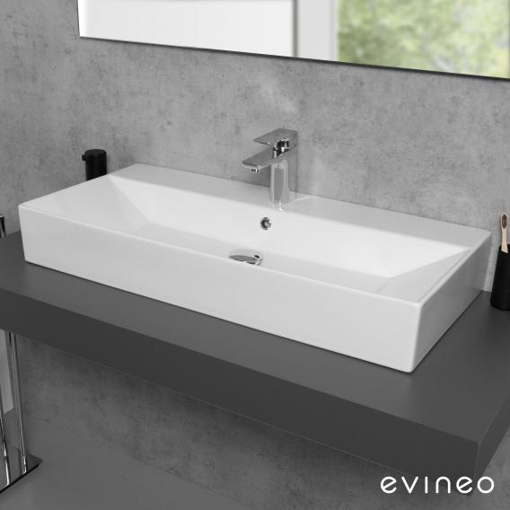 Evineo ineo3 edge Countertop or Wall-Mounted Washbasin W: 90 D: 42 cm