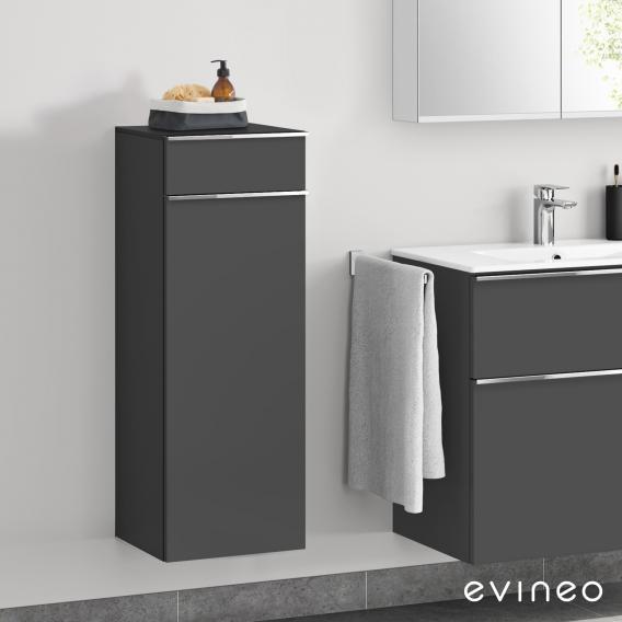 Evineo ineo4 side unit with 1 drawer, 1 door, with handle front matt anthracite / corpus matt anthracite