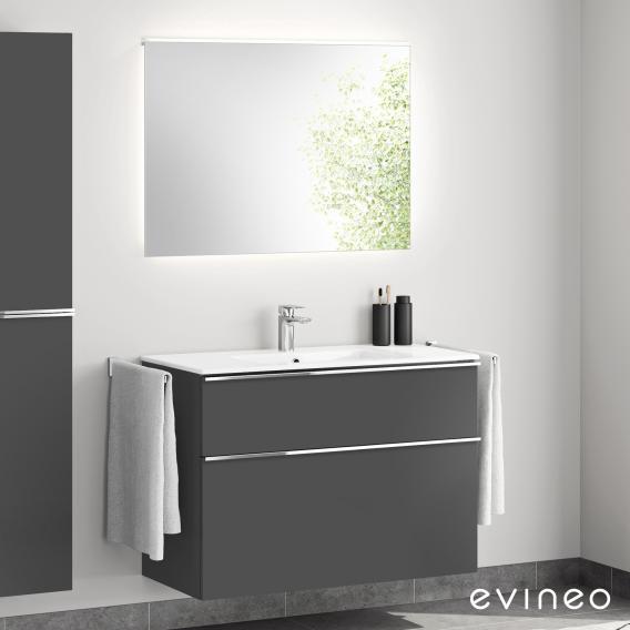 Evineo ineo4 washbasin and vanity unit with handle, with LED mirror front matt anthracite/mirrored / corpus matt anthracite