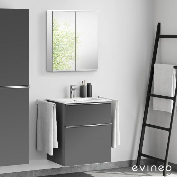 Evineo ineo4 washbasin and vanity unit with handle, with LED mirror cabinet front matt anthracite/mirrored / corpus matt anthracite/mirrored