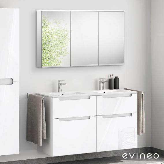 Evineo ineo5 double washbasin and vanity unit with recessed handle, with LED mirror cabinet front white high gloss/mirrored / corpus white high gloss/mirrored