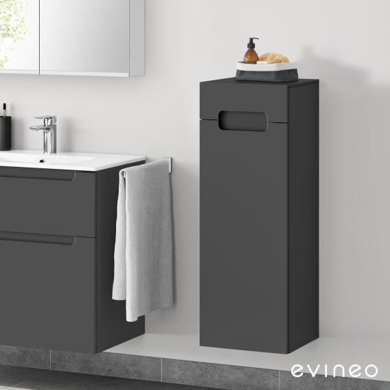 Evineo ineo5 side unit with 1 drawer, 1 door, with recessed handle front matt anthracite / corpus matt anthracite