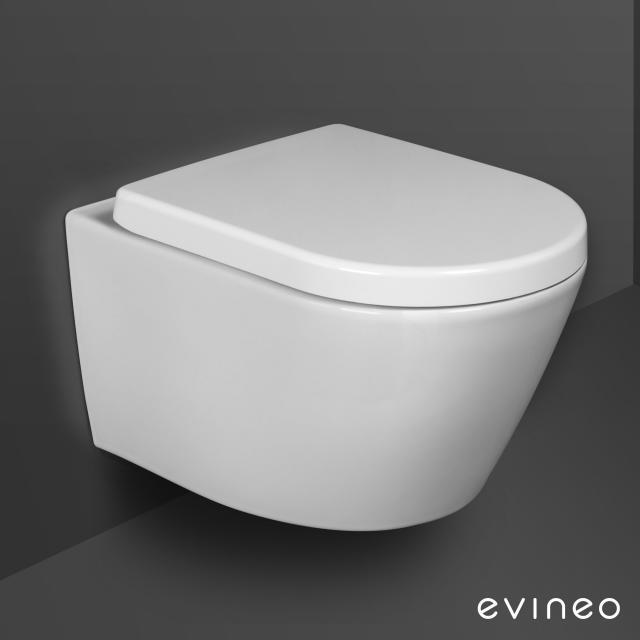 Evineo ineo Cuvette suspendue à fond creux, sans bride, avec abattant, amovible, antibactérien