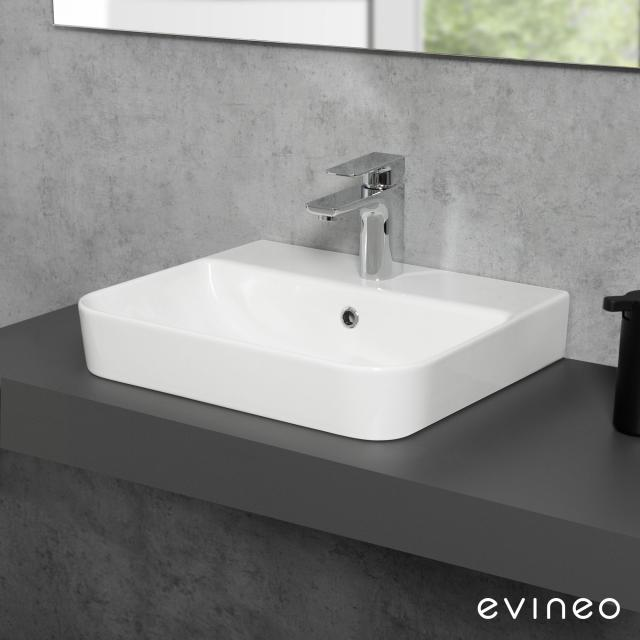 Evineo ineo3 soft countertop or wall-mounted washbasin W: 47.8 D: 41.7 cm