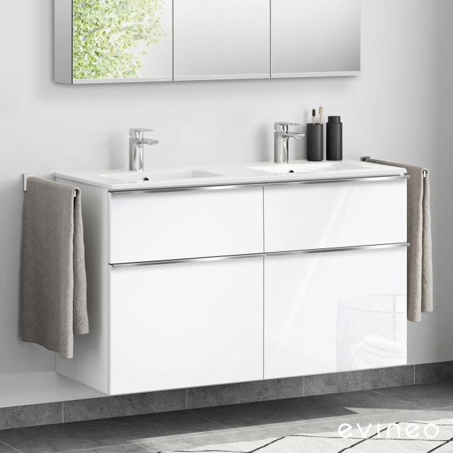 Evineo ineo4 double washbasin and vanity unit with 4 pull-out compartments, with handle front white high gloss / corpus white high gloss