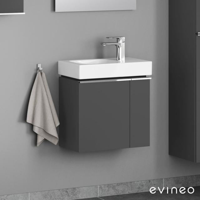 Evineo ineo4 vanity unit for hand washbasin with 2 doors, with handle front matt anthracite / corpus matt anthracite