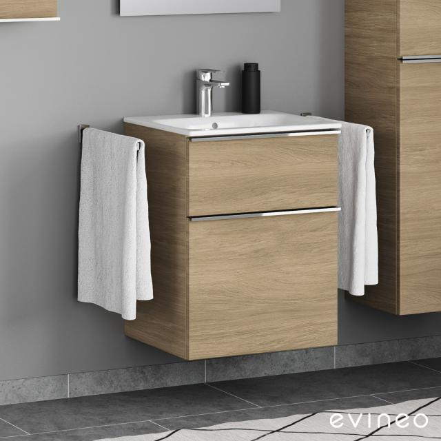 Evineo ineo4 vanity unit with 2 pull-out compartments, with handles front oak / corpus oak