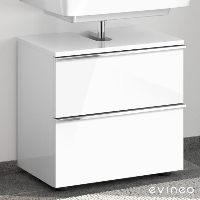 Evineo ineo4 vanity unit without washbasin connection with 2 pull-out compartments, with handle front white high gloss / corpus white high gloss