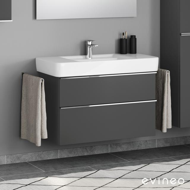 Evineo ineo4 vanity unit with 2 pull-out compartments, with handles front matt anthracite / corpus matt anthracite