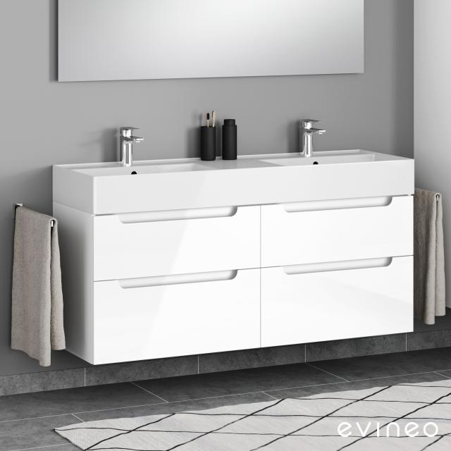 Evineo ineo5 vanity unit for double with 4 pull-out compartments, with recessed handle front white high gloss / corpus white high gloss