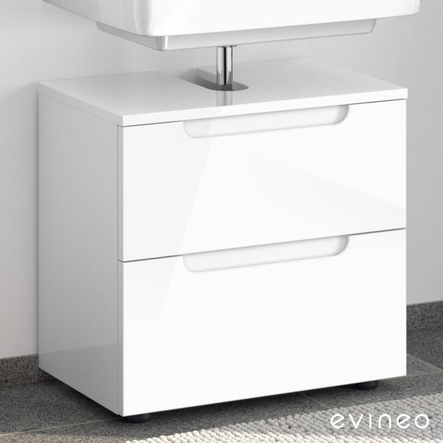 Evineo ineo5 vanity unit without washbasin connection with 2 pull-out compartments, with recessed handle front white high gloss / corpus white high gloss