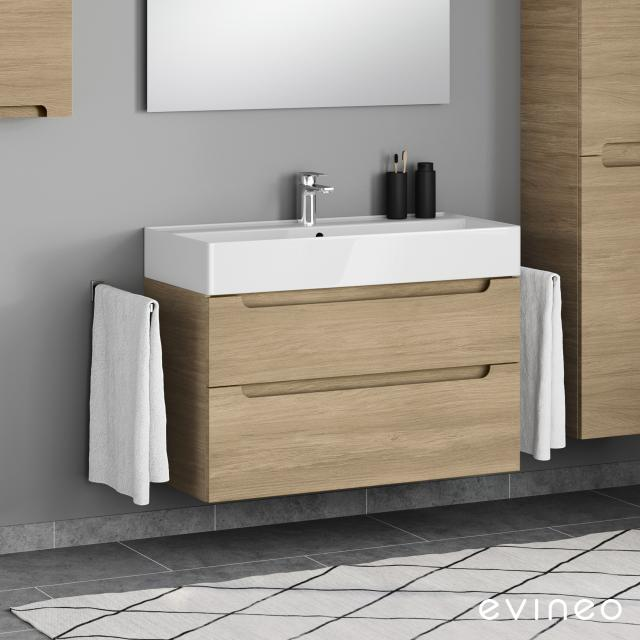 Evineo ineo5 vanity unit with 2 pull-out compartments, with recessed handles front oak / corpus oak