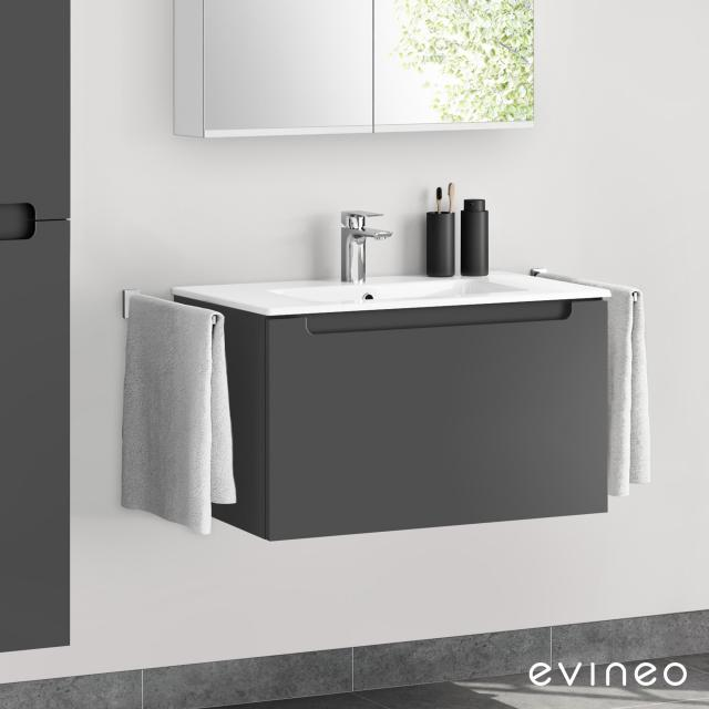 Evineo ineo5 washbasin and vanity unit with 1 pull-out compartment, with recessed handle front matt anthracite / corpus matt anthracite