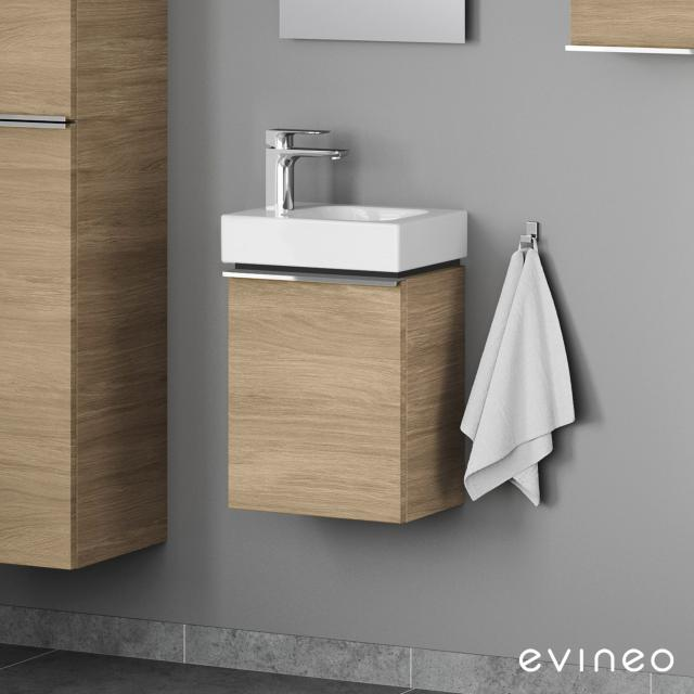 Geberit iCon hand washbasin mit Evineo ineo4 vanity unit with 1 door, with handle front oak / corpus oak, WB white, with KeraTect