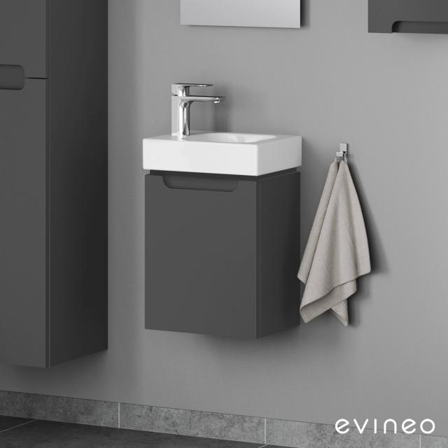 Geberit iCon hand washbasin with Evineo ineo5 vanity unit with 1 door, with recessed handle front matt anthracite / corpus matt anthracite, WB white, with KeraTect