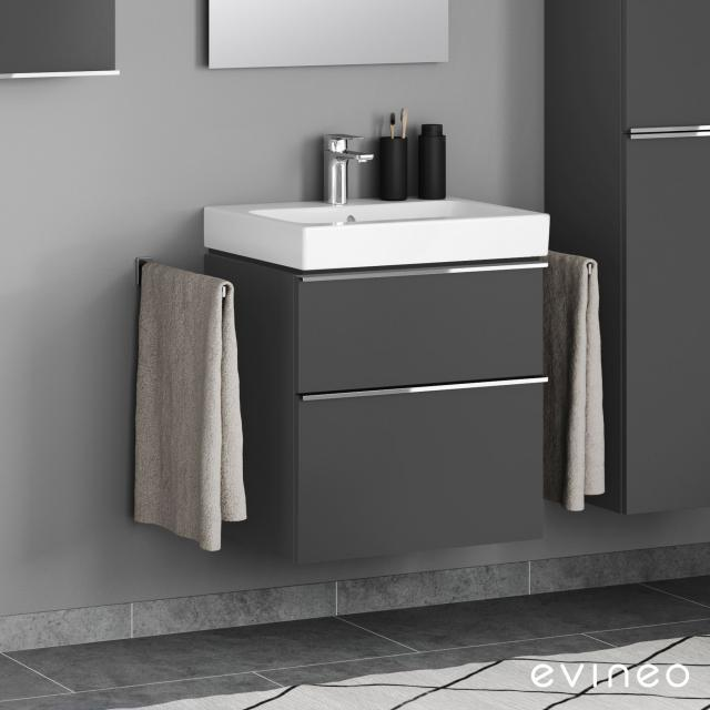 Geberit iCon washbasin mit Evineo ineo4 vanity unit with 2 pull-out compartments, with handles front matt anthracite / corpus matt anthracite, WB white, with KeraTect, with 1 tap hole, with overflow