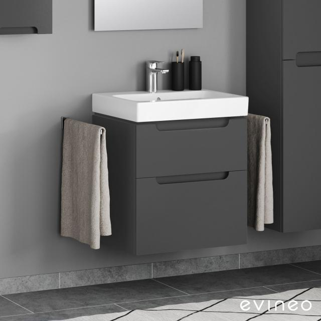 Geberit iCon washbasin and Evineo ineo5 vanity unit with 2 pull-out compartments, with recessed handles front matt anthracite / corpus matt anthracite, WB white, with KeraTect, with 1 tap hole, with overflow