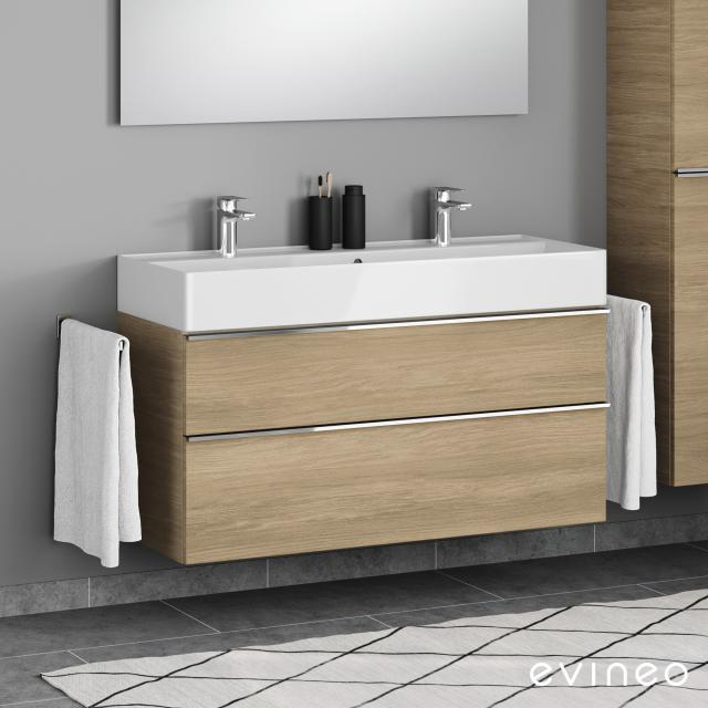 Scarabeo Teorema 2.0 double washbasin with Evineo ineo4 vanity unit with 2 pull-out compartments, with handles front oak / corpus oak, WB white, with BIO System coating