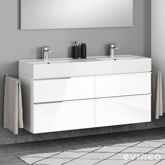 Scarabeo Teorema 2.0 double washbasin with Evineo ineo4 vanity unit with 4 pull-out compartments, with handles front white high gloss / corpus white high gloss, WB white, with BIO System coating