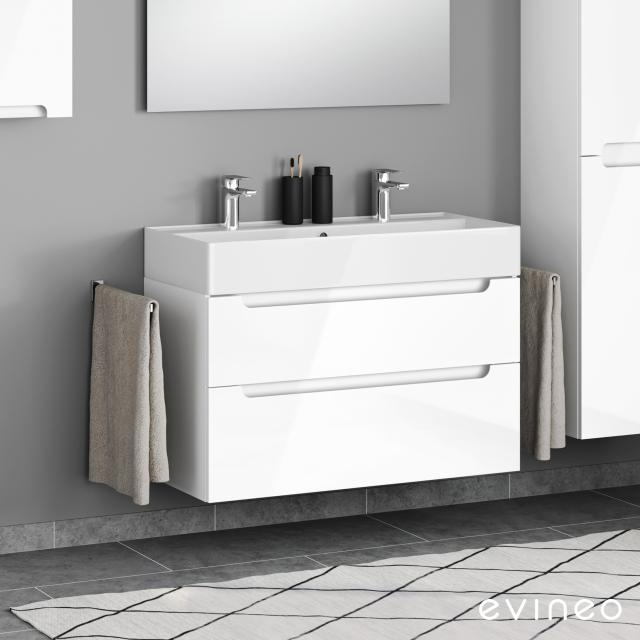 Scarabeo Teorema 2.0 double washbasin Evineo ineo5 vanity unit with 2 pull-out compartments, with recessed handles front white high gloss / corpus white high gloss, WB white, with BIO System coating